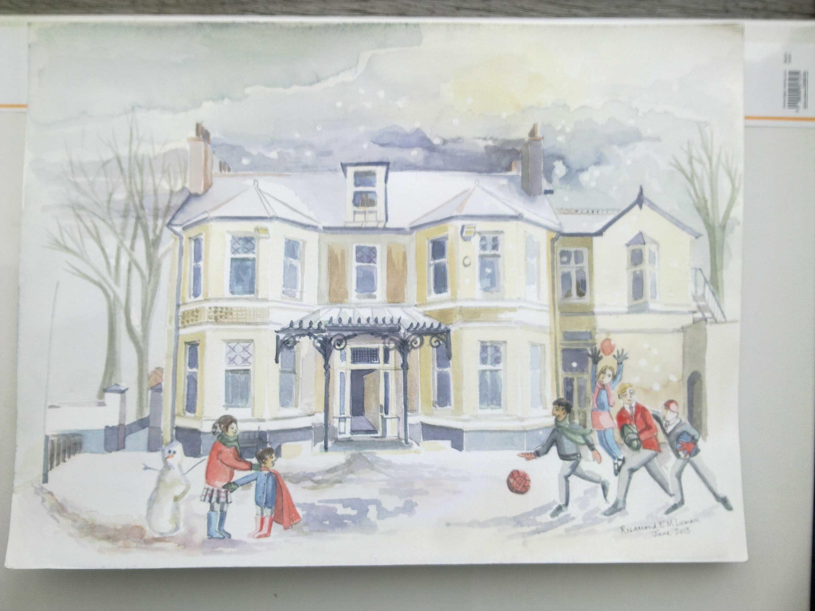 The school in Winter, painted by Head of Art, Mrs Lomax