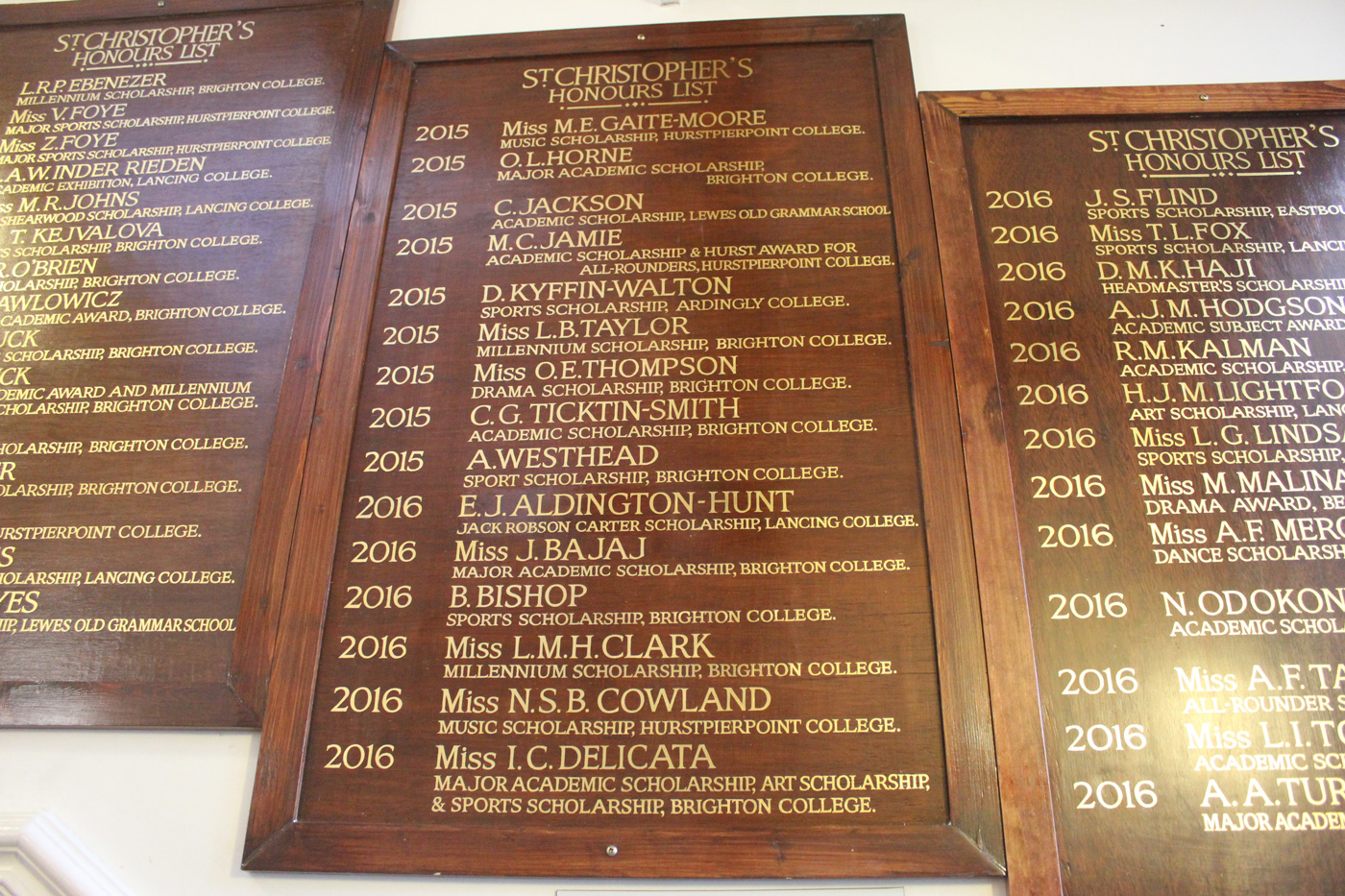 Are you still on the Honours Boards somewhere? They go all the way back to the first Scholarship award in 1929...
